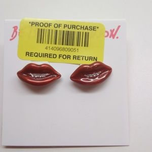 Betsey Johnson New Red Lips Earrings